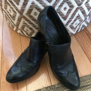 Born Louella Black Side Zip Wingtip Leather Bootie